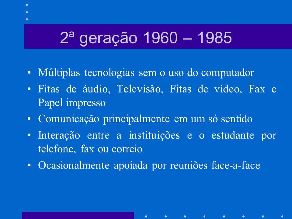 Múltiplas tecnologias sem o uso do computador Fitas de áudio, Televisão, Fitas de vídeo, Fax e Papel impresso Comunicação principalmente em um só sent