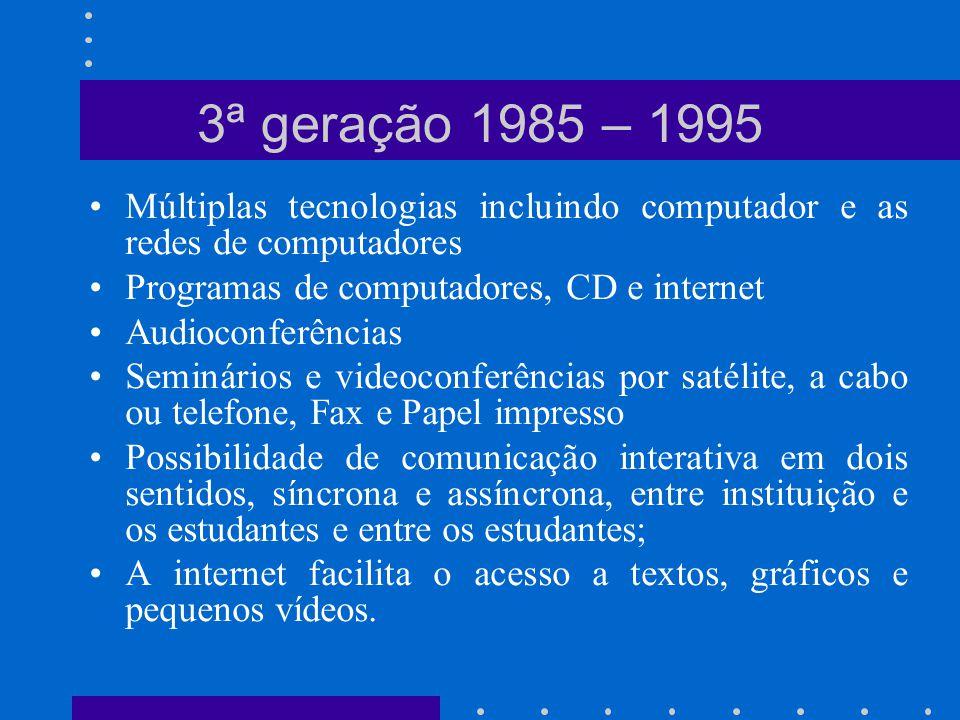 Múltiplas tecnologias incluindo computador e as redes de computadores Programas de computadores, CD e internet Audioconferências Seminários e videocon