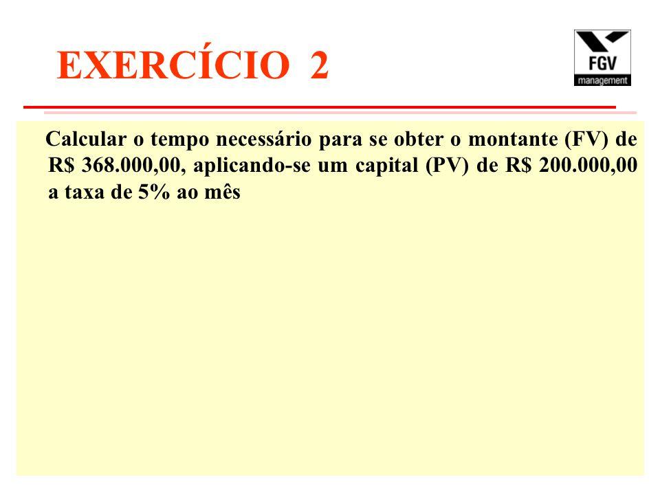 EXERCÍCIO 2 Calcular o tempo necessário para se obter o montante (FV) de R$ 368.000,00, aplicando-se um capital (PV) de R$ 200.000,00 a taxa de 5% ao