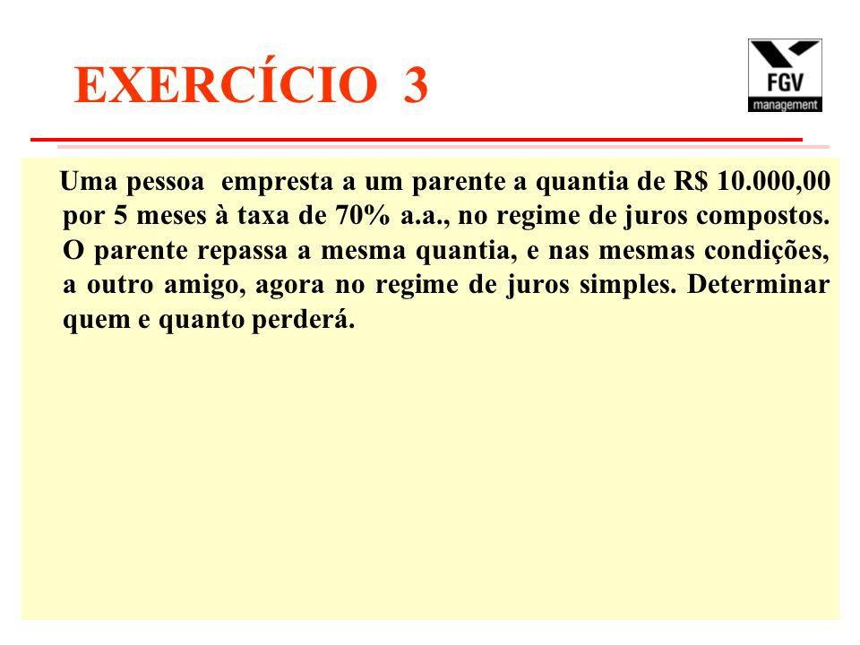 EXERCÍCIO 3 Uma pessoa empresta a um parente a quantia de R$ 10.000,00 por 5 meses à taxa de 70% a.a., no regime de juros compostos. O parente repassa