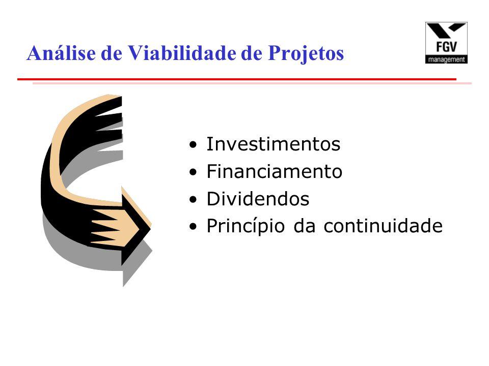 Análise de Viabilidade de Projetos Investimentos Financiamento Dividendos Princípio da continuidade