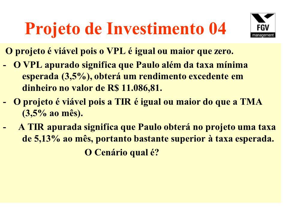 Projeto de Investimento 04 O projeto é viável pois o VPL é igual ou maior que zero. - O VPL apurado significa que Paulo além da taxa mínima esperada (