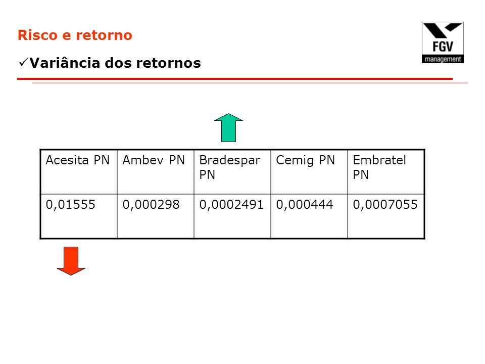 Risco e retorno Variância dos retornos Acesita PNAmbev PNBradespar PN Cemig PNEmbratel PN 0,015550,0002980,00024910,0004440,0007055