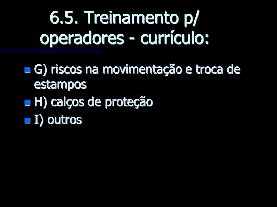 6.5. Treinamento p/ operadores - currículo: n G) riscos na movimentação e troca de estampos n H) calços de proteção n I) outros