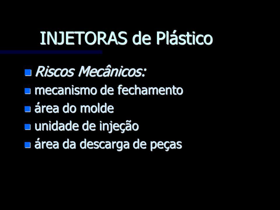 INJETORAS de Plástico n Riscos Mecânicos: n mecanismo de fechamento n área do molde n unidade de injeção n área da descarga de peças