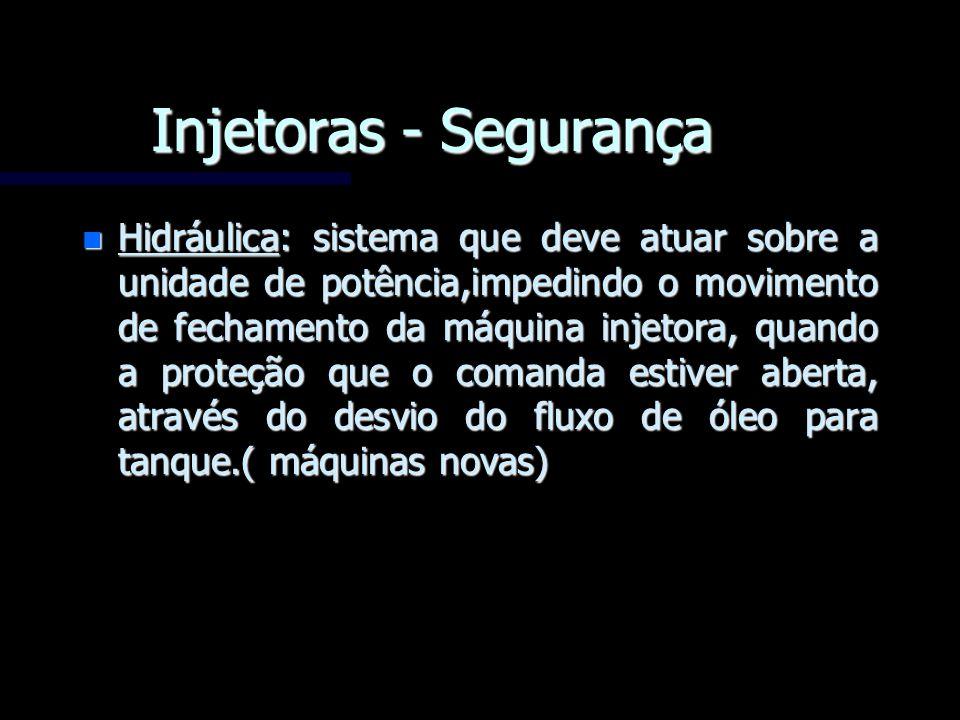 Injetoras - Segurança n Hidráulica: sistema que deve atuar sobre a unidade de potência,impedindo o movimento de fechamento da máquina injetora, quando
