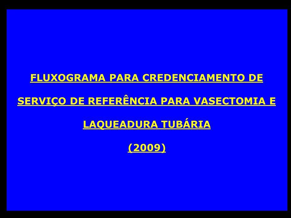 FLUXOGRAMA PARA CREDENCIAMENTO DE SERVIÇO DE REFERÊNCIA PARA VASECTOMIA E LAQUEADURA TUBÁRIA (2009)