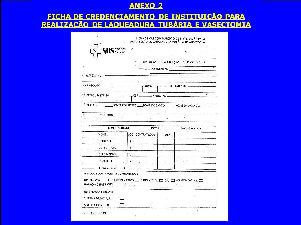 ANEXO 2 FICHA DE CREDENCIAMENTO DE INSTITUIÇÃO PARA REALIZAÇÃO DE LAQUEADURA TUBÁRIA E VASECTOMIA