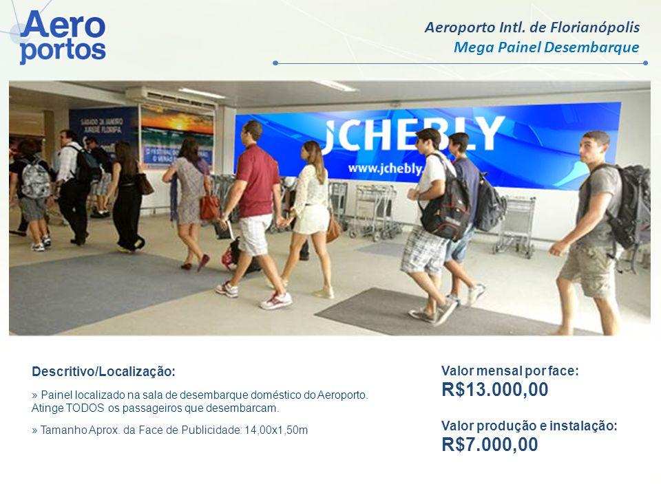 Aeroporto Intl. de Florianópolis Mega Painel Desembarque Valor mensal por face: R$13.000,00 Valor produção e instalação: R$7.000,00 Descritivo/Localiz