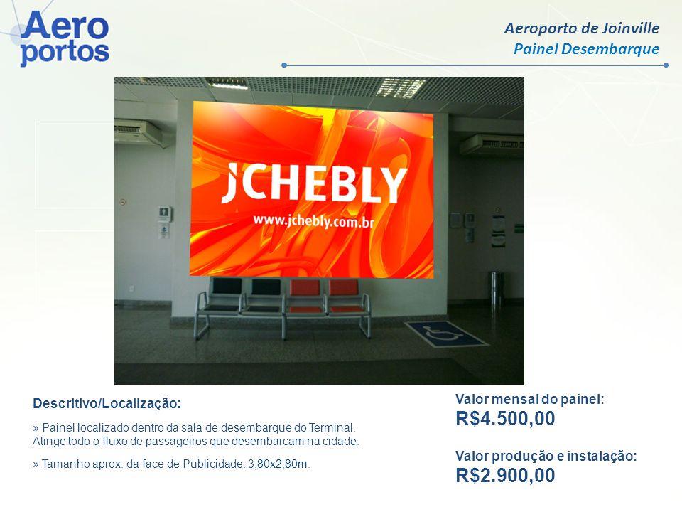 Aeroporto de Joinville Painel Desembarque Valor mensal por face: R$ 9.500,00 Valor produção e instalação: R$ 750,00 Valor mensal do painel: R$4.500,00