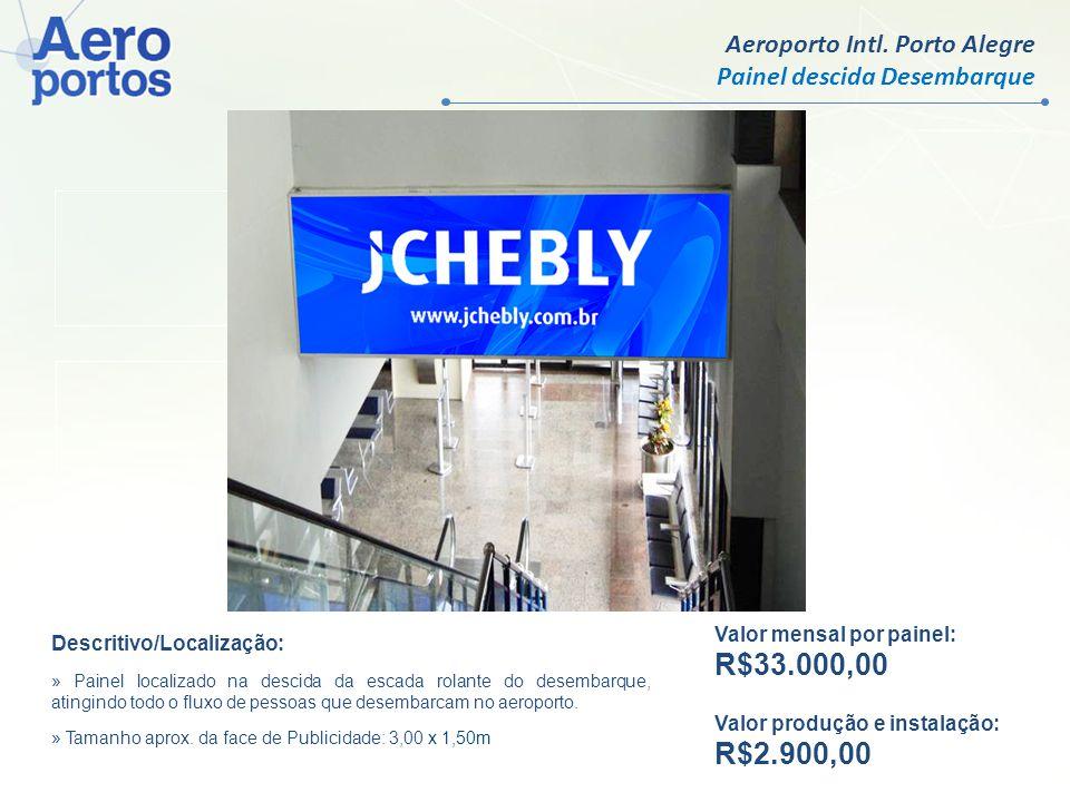 Aeroporto Intl. Porto Alegre Painel descida Desembarque Valor mensal por face: R$ 9.500,00 Valor produção e instalação: R$ 750,00 Valor mensal por pai