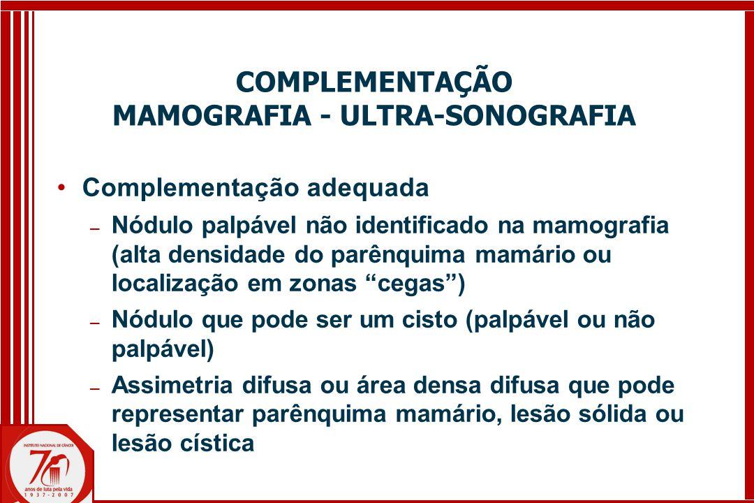 COMPLEMENTAÇÃO MAMOGRAFIA - ULTRA-SONOGRAFIA Complementação adequada ─ Nódulo palpável não identificado na mamografia (alta densidade do parênquima mamário ou localização em zonas cegas ) ─ Nódulo que pode ser um cisto (palpável ou não palpável) ─ Assimetria difusa ou área densa difusa que pode representar parênquima mamário, lesão sólida ou lesão cística
