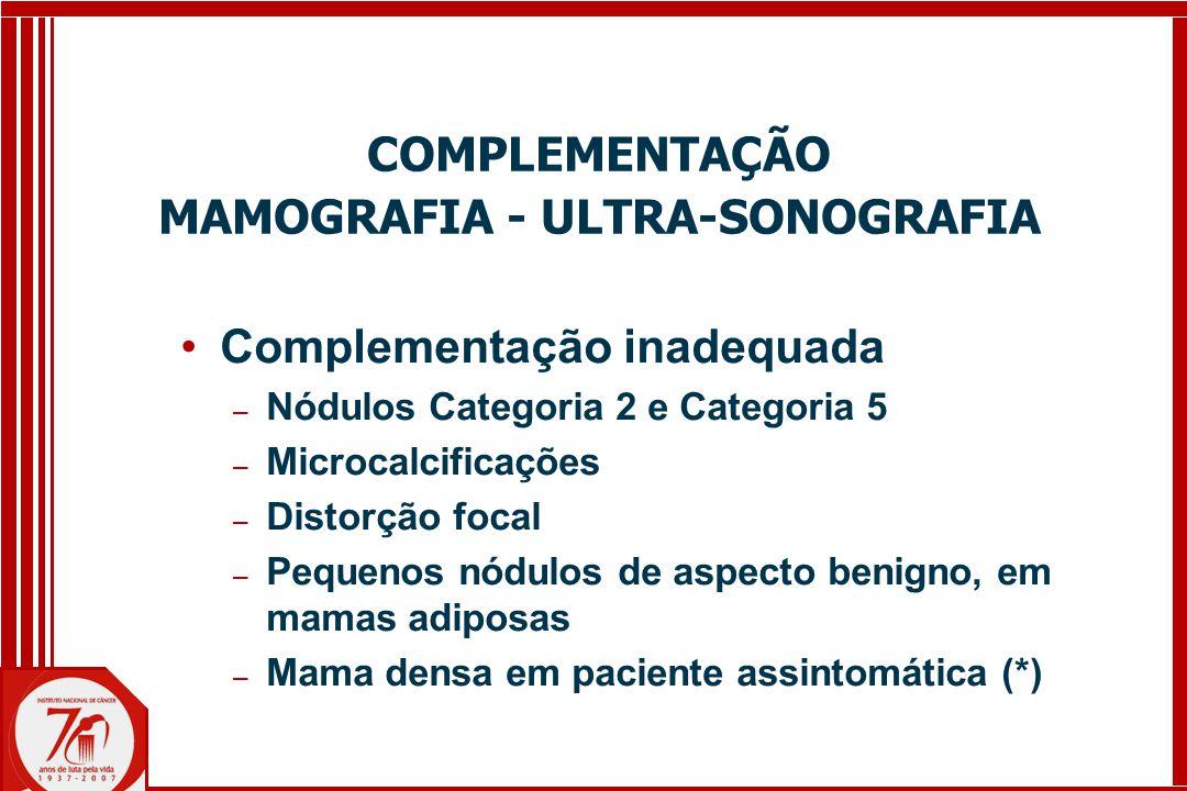 Complementação inadequada ─ Nódulos Categoria 2 e Categoria 5 ─ Microcalcificações ─ Distorção focal ─ Pequenos nódulos de aspecto benigno, em mamas adiposas ─ Mama densa em paciente assintomática (*) COMPLEMENTAÇÃO MAMOGRAFIA - ULTRA-SONOGRAFIA
