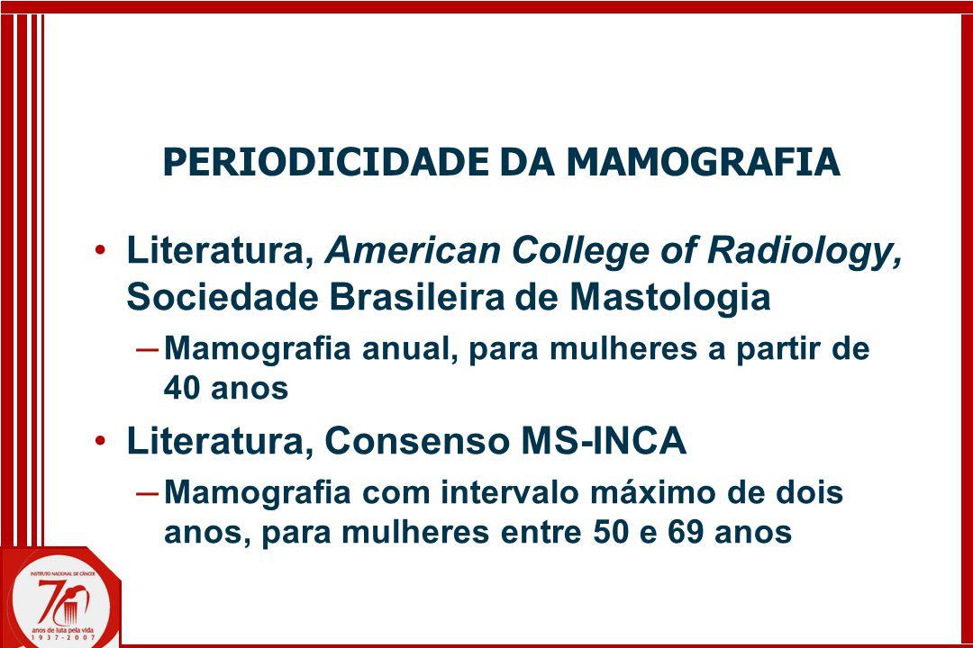 Literatura, American College of Radiology, Sociedade Brasileira de Mastologia ─ Mamografia anual, para mulheres a partir de 40 anos Literatura, Consenso MS-INCA ─ Mamografia com intervalo máximo de dois anos, para mulheres entre 50 e 69 anos PERIODICIDADE DA MAMOGRAFIA