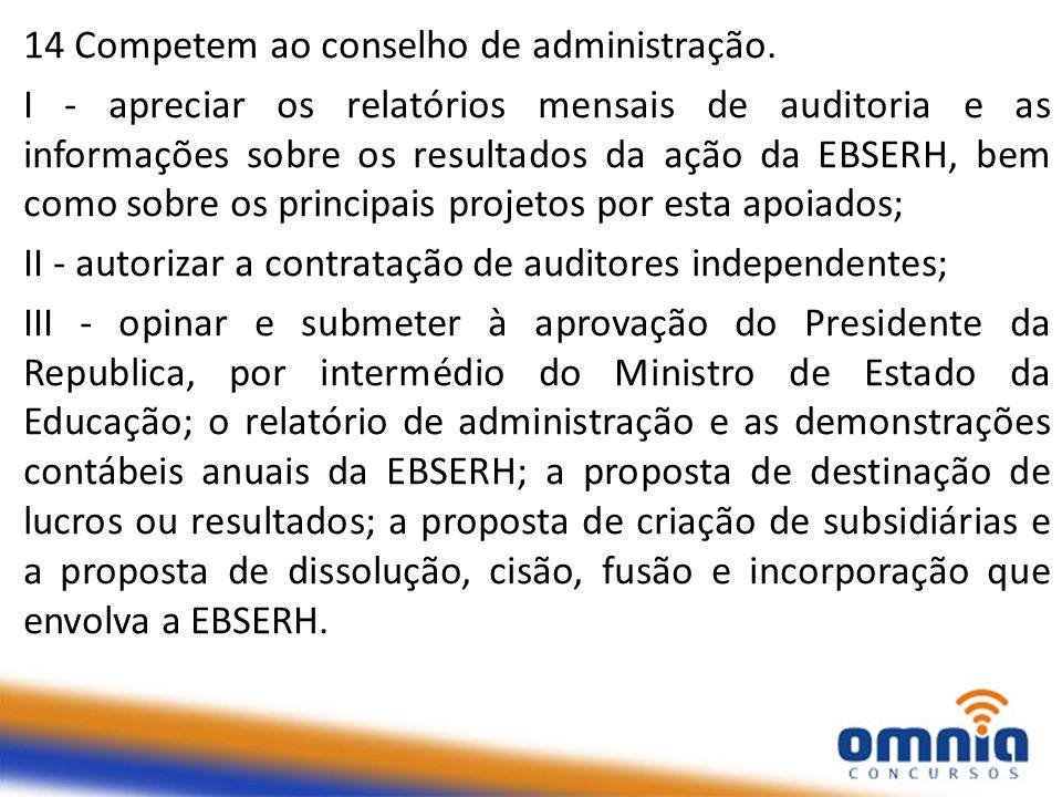 14 Competem ao conselho de administração. I - apreciar os relatórios mensais de auditoria e as informações sobre os resultados da ação da EBSERH, bem