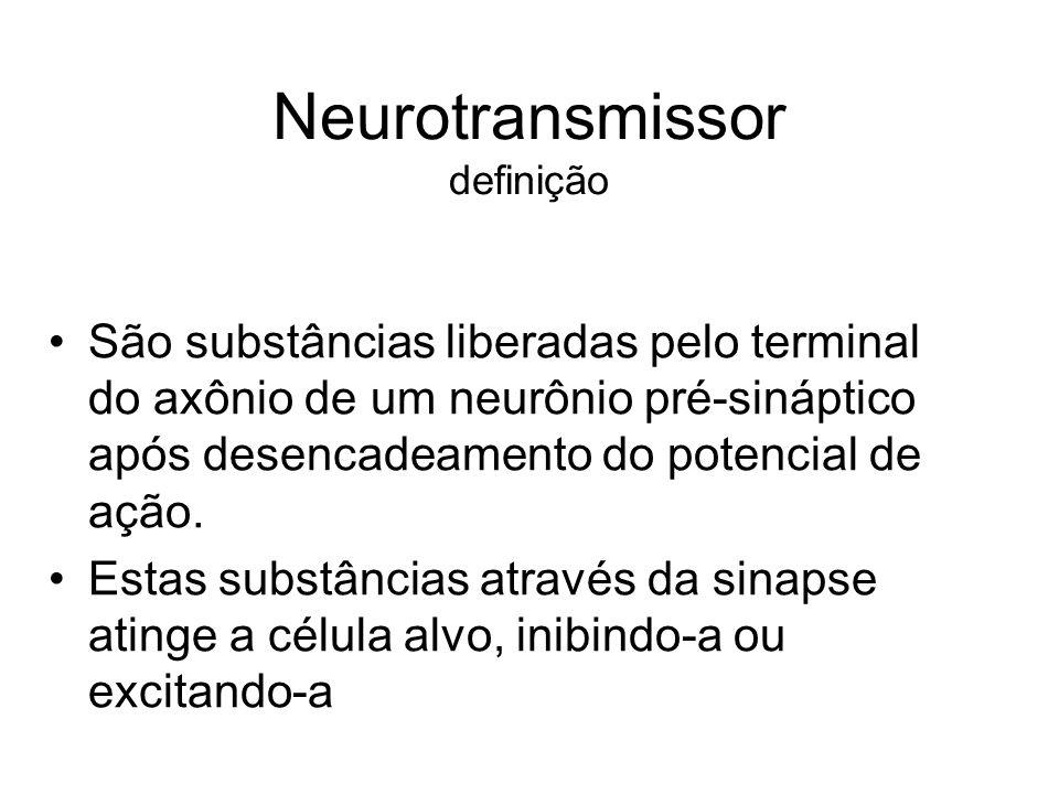 Neurotransmissor classificação Excitatórios (aminas, catecolaminas, acetilcolina) Inibitórios ( GABA e Glicina)