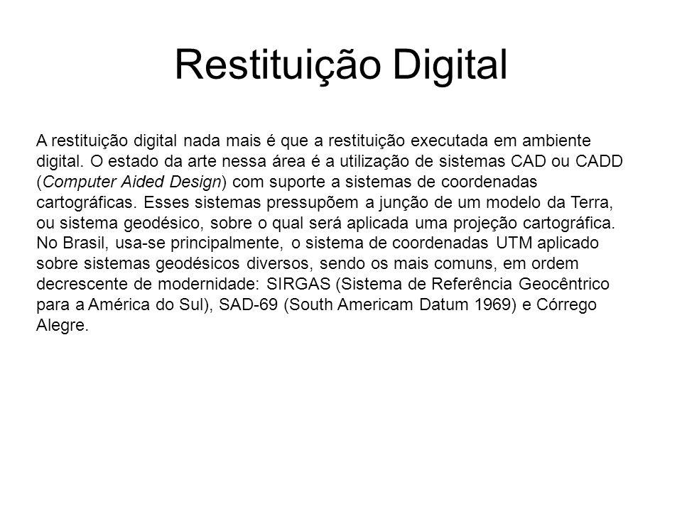 Restituição Digital A restituição digital nada mais é que a restituição executada em ambiente digital. O estado da arte nessa área é a utilização de s