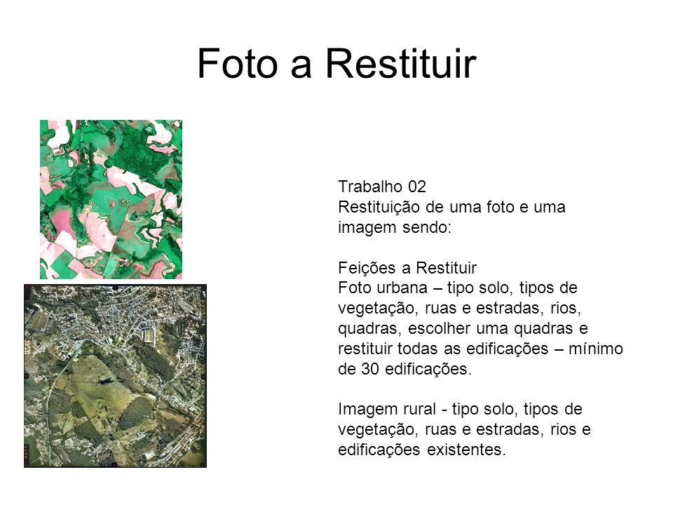Trabalho 02 Restituição de uma foto e uma imagem sendo: Feições a Restituir Foto urbana – tipo solo, tipos de vegetação, ruas e estradas, rios, quadra