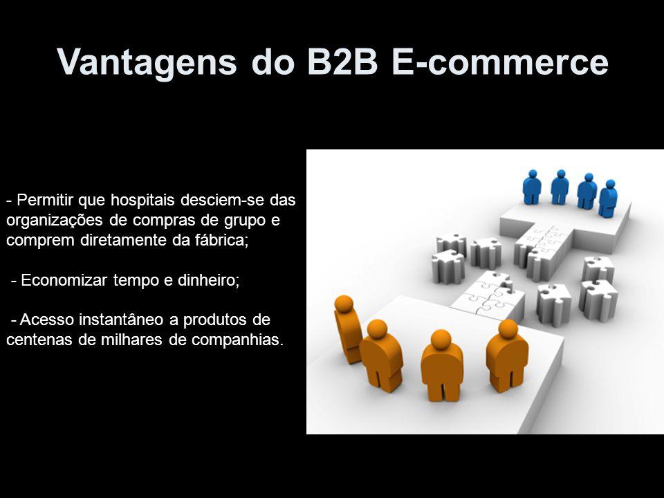 Vantagens do B2B E-commerce - Permitir que hospitais desciem-se das organizações de compras de grupo e comprem diretamente da fábrica; - Economizar te