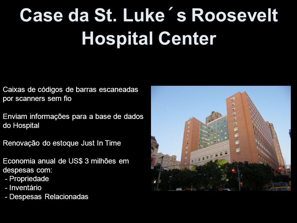 Case da St. Luke´s Roosevelt Hospital Center Caixas de códigos de barras escaneadas por scanners sem fio Enviam informações para a base de dados do Ho