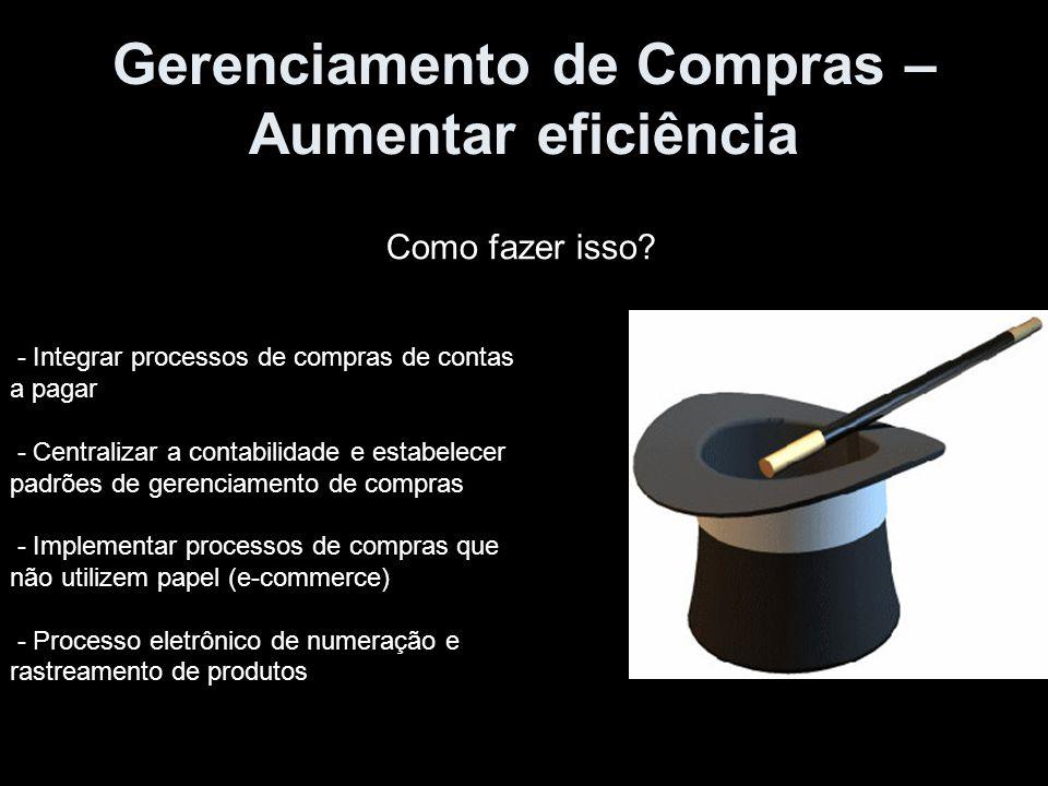Gerenciamento de Compras – Aumentar eficiência Como fazer isso? - Integrar processos de compras de contas a pagar - Centralizar a contabilidade e esta