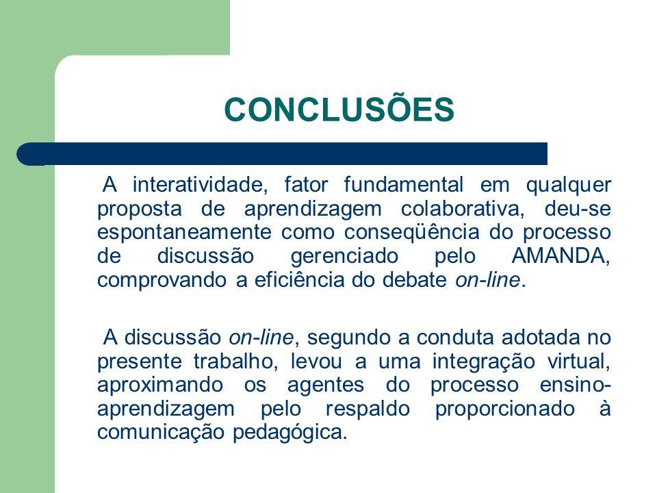 CONCLUSÕES A interatividade, fator fundamental em qualquer proposta de aprendizagem colaborativa, deu-se espontaneamente como conseqüência do processo de discussão gerenciado pelo AMANDA, comprovando a eficiência do debate on-line.