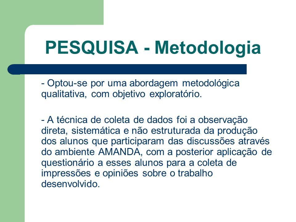 PESQUISA - Metodologia - Optou-se por uma abordagem metodológica qualitativa, com objetivo exploratório.