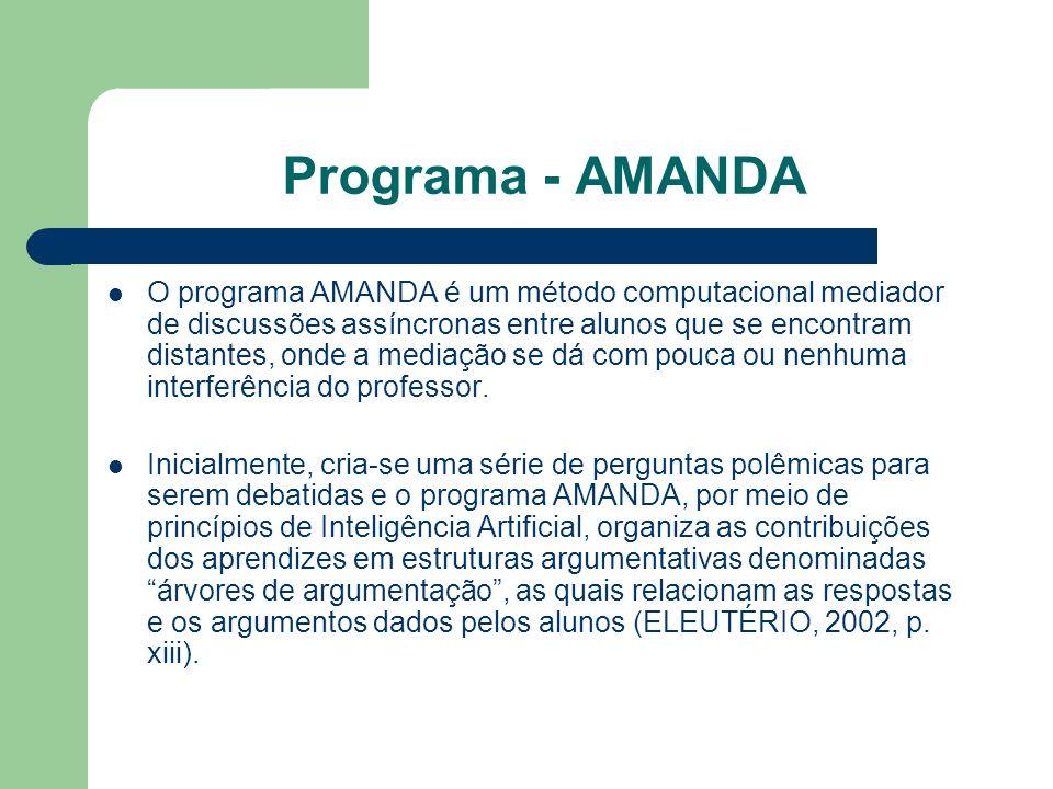 Programa - AMANDA O programa AMANDA é um método computacional mediador de discussões assíncronas entre alunos que se encontram distantes, onde a mediação se dá com pouca ou nenhuma interferência do professor.