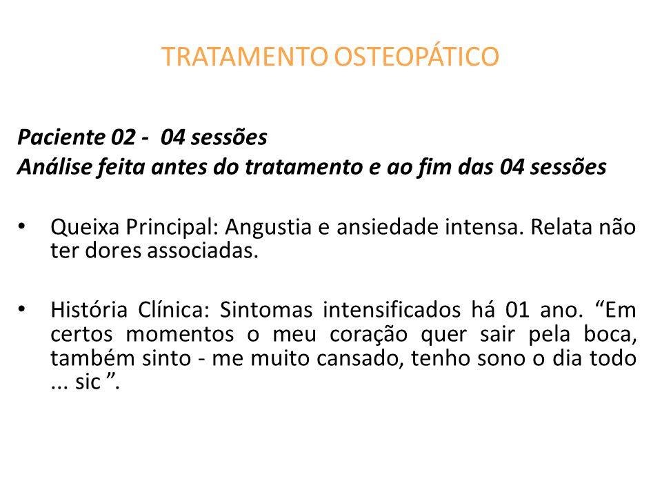 TRATAMENTO OSTEOPÁTICO Paciente 02 - 04 sessões Análise feita antes do tratamento e ao fim das 04 sessões Queixa Principal: Angustia e ansiedade intensa.