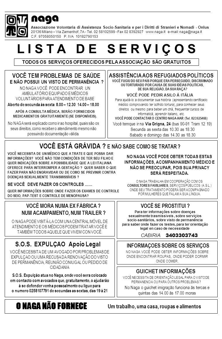 Associazione Volontaria di Assistenza Socio-Sanitaria e per i Diritti di Stranieri e Nomadi - Onlus 20136 Milano – Via Zamenhof, 7A - Tel.