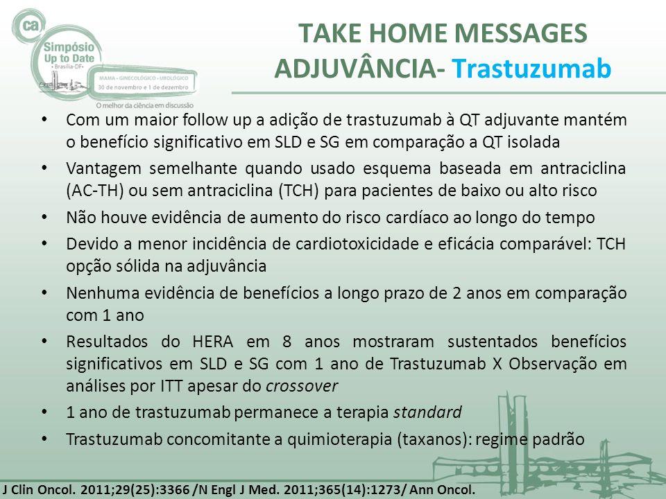 TAKE HOME MESSAGES ADJUVÂNCIA- Trastuzumab Com um maior follow up a adição de trastuzumab à QT adjuvante mantém o benefício significativo em SLD e SG