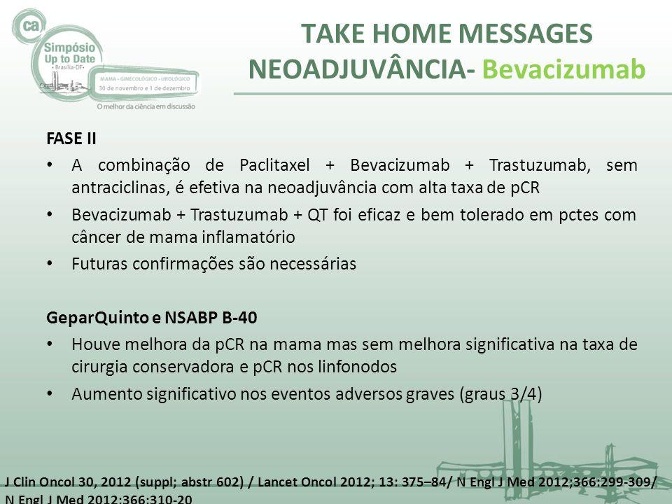 TAKE HOME MESSAGES NEOADJUVÂNCIA- Bevacizumab FASE II A combinação de Paclitaxel + Bevacizumab + Trastuzumab, sem antraciclinas, é efetiva na neoadjuv