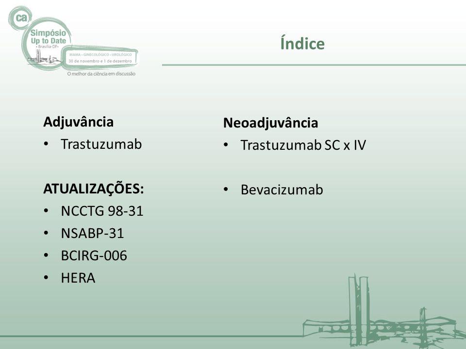 Adjuvância Trastuzumab ATUALIZAÇÕES: NCCTG 98-31 NSABP-31 BCIRG-006 HERA Índice Neoadjuvância Trastuzumab SC x IV Bevacizumab