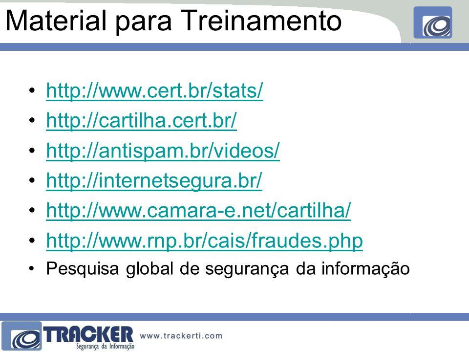 Material para Treinamento http://www.cert.br/stats/ http://cartilha.cert.br/ http://antispam.br/videos/ http://internetsegura.br/ http://www.camara-e.