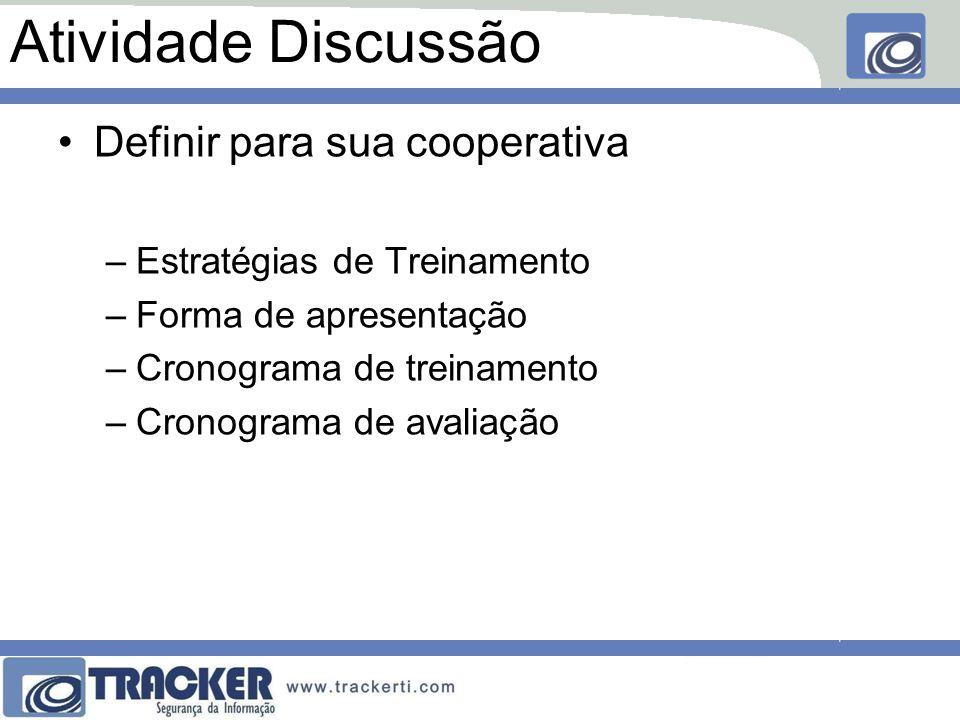 Atividade Discussão Definir para sua cooperativa –Estratégias de Treinamento –Forma de apresentação –Cronograma de treinamento –Cronograma de avaliaçã