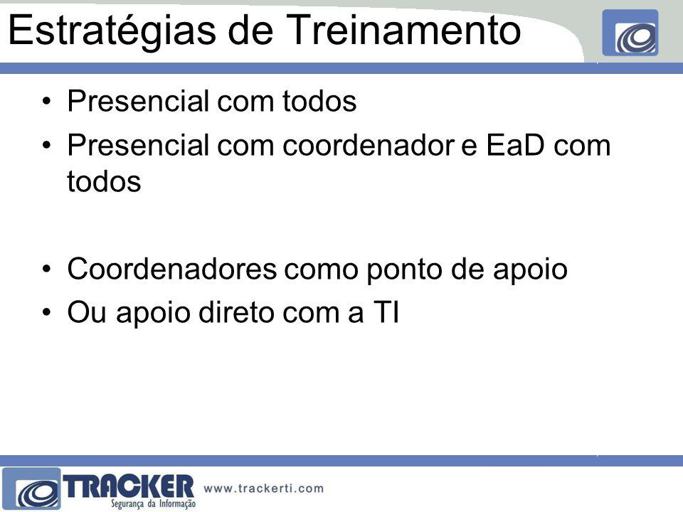 Estratégias de Treinamento Presencial com todos Presencial com coordenador e EaD com todos Coordenadores como ponto de apoio Ou apoio direto com a TI