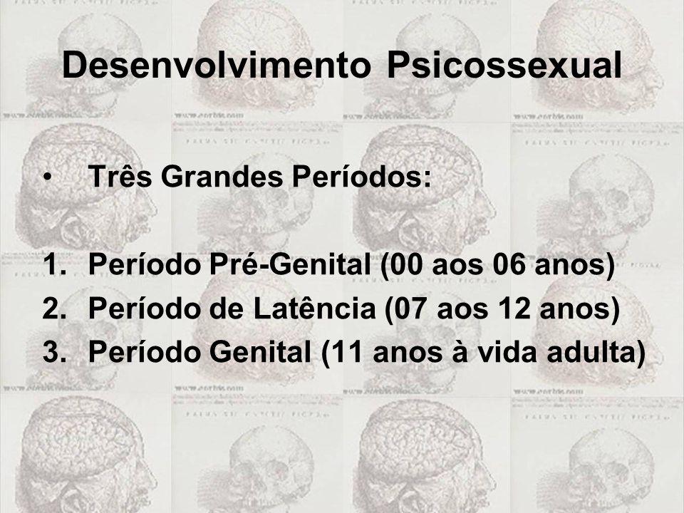 Desenvolvimento Psicossexual Três Grandes Períodos: 1.Período Pré-Genital (00 aos 06 anos) 2.Período de Latência (07 aos 12 anos) 3.Período Genital (1