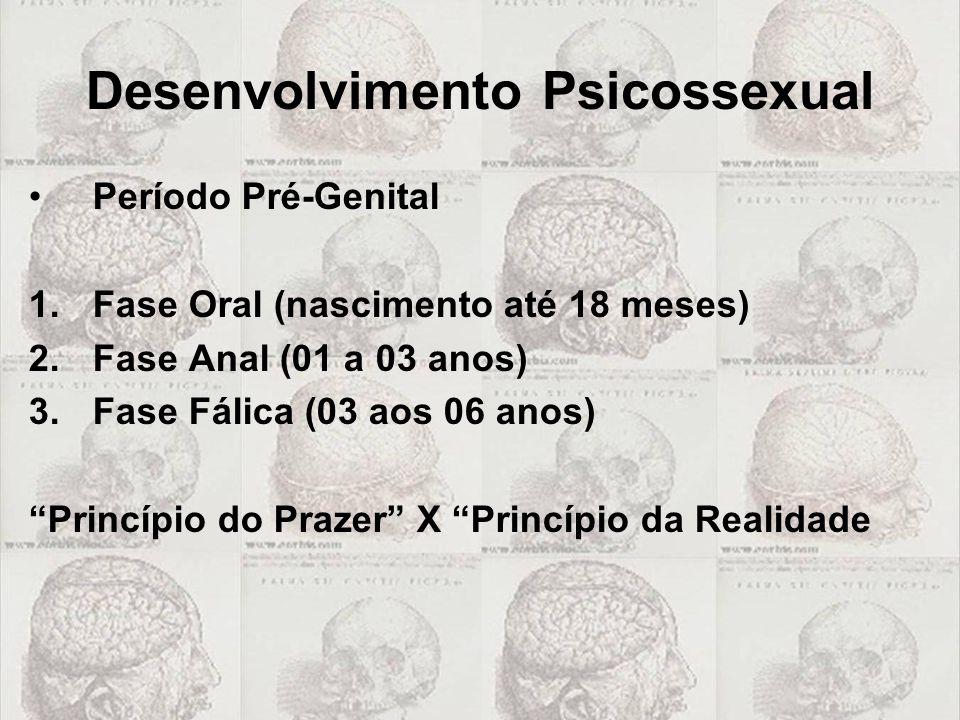"""Desenvolvimento Psicossexual Período Pré-Genital 1.Fase Oral (nascimento até 18 meses) 2.Fase Anal (01 a 03 anos) 3.Fase Fálica (03 aos 06 anos) """"Prin"""