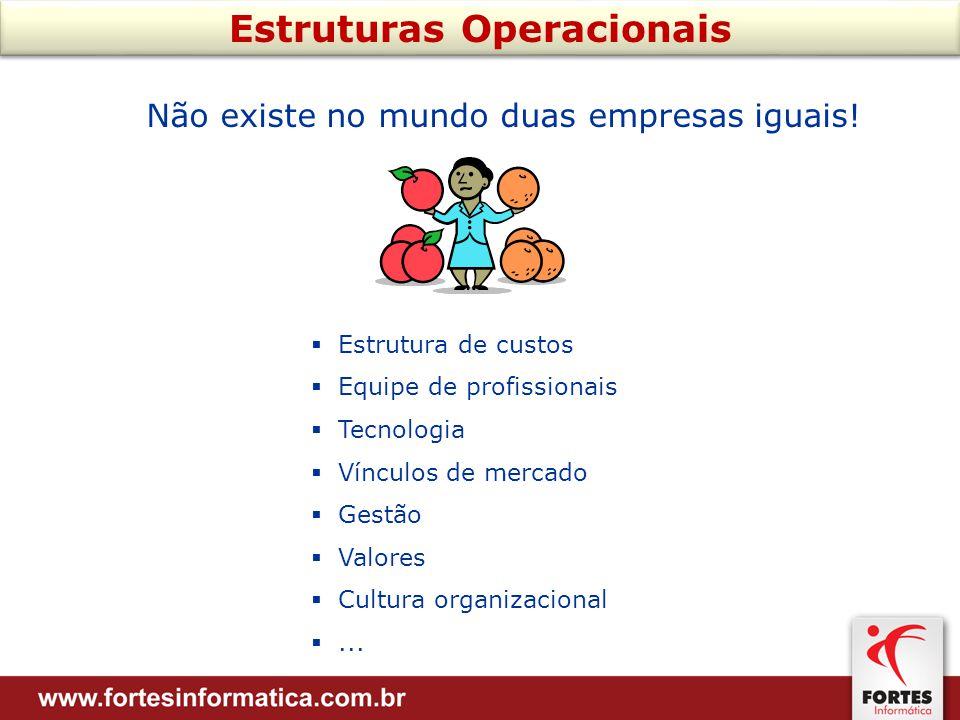 Estruturas Operacionais Não existe no mundo duas empresas iguais.