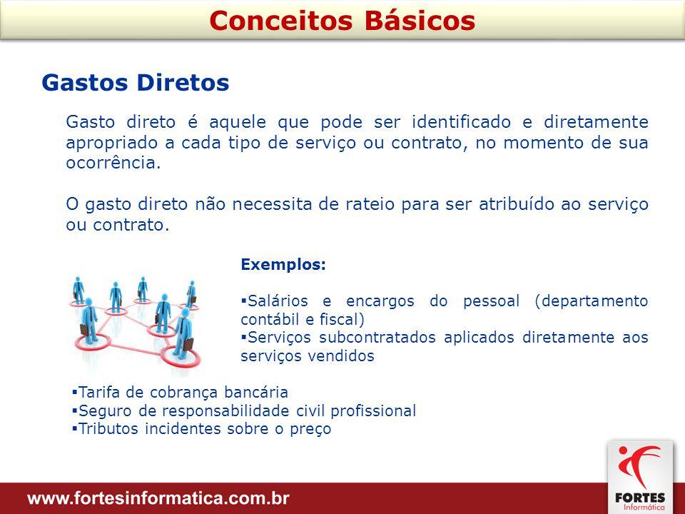 Gastos Diretos Gasto direto é aquele que pode ser identificado e diretamente apropriado a cada tipo de serviço ou contrato, no momento de sua ocorrência.