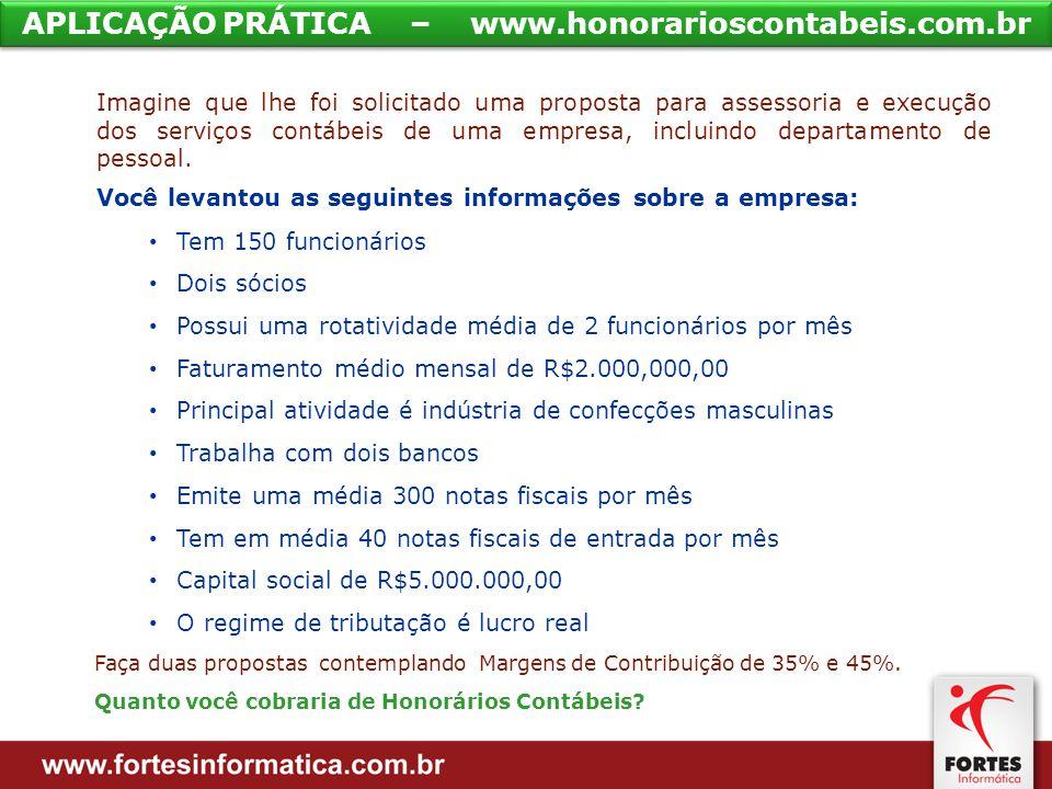APLICAÇÃO PRÁTICA – www.honorarioscontabeis.com.br Imagine que lhe foi solicitado uma proposta para assessoria e execução dos serviços contábeis de uma empresa, incluindo departamento de pessoal.