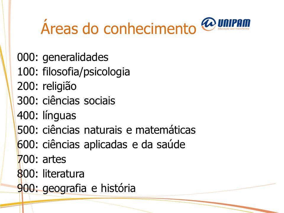 Áreas do conhecimento 000: generalidades 100: filosofia/psicologia 200: religião 300: ciências sociais 400: línguas 500: ciências naturais e matemátic