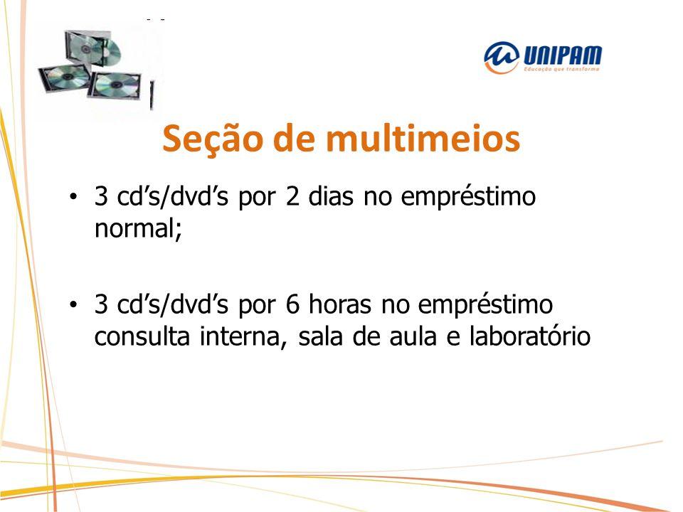 Seção de multimeios 3 cd's/dvd's por 2 dias no empréstimo normal; 3 cd's/dvd's por 6 horas no empréstimo consulta interna, sala de aula e laboratório