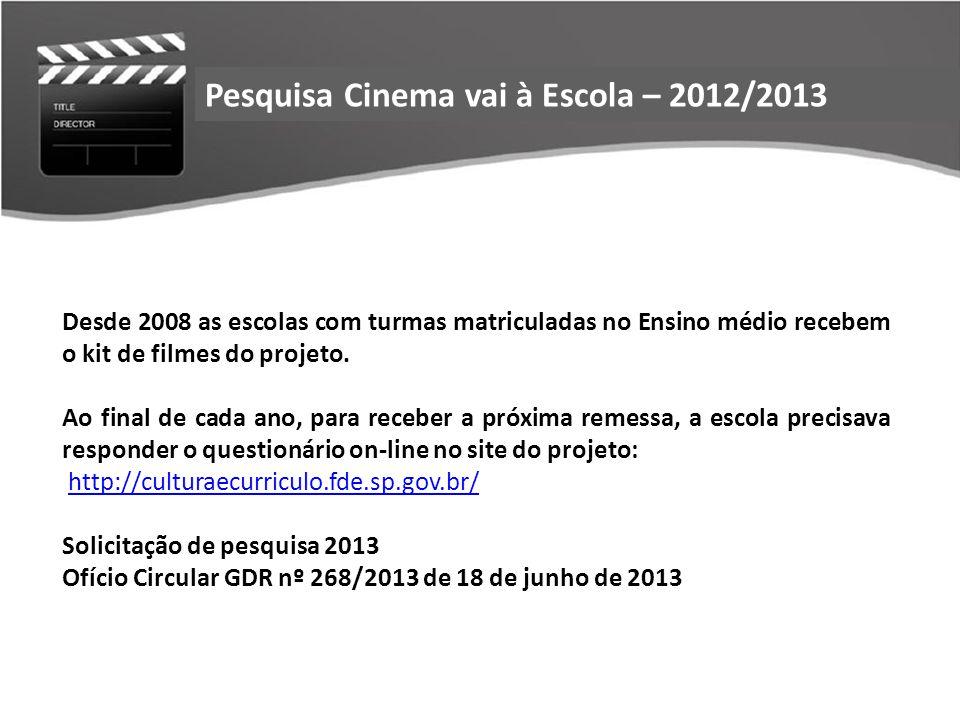 Desde 2008 as escolas com turmas matriculadas no Ensino médio recebem o kit de filmes do projeto. Ao final de cada ano, para receber a próxima remessa