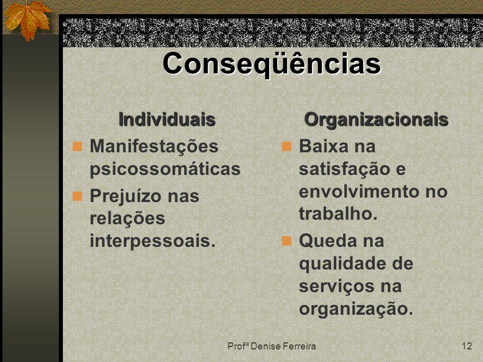 Profª Denise Ferreira12 Conseqüências Individuais Manifestações psicossomáticas Prejuízo nas relações interpessoais.Organizacionais Baixa na satisfação e envolvimento no trabalho.