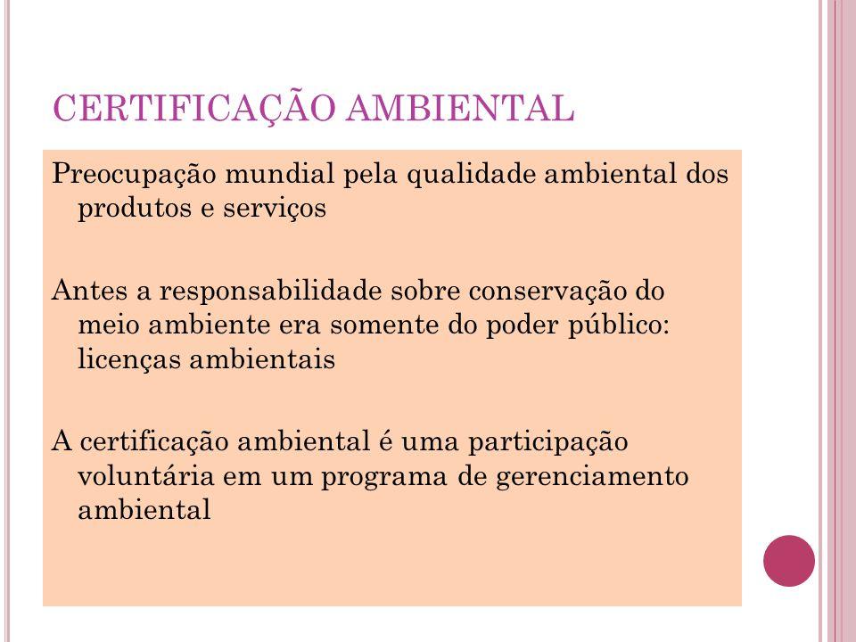 CERTIFICAÇÃO AMBIENTAL Preocupação mundial pela qualidade ambiental dos produtos e serviços Antes a responsabilidade sobre conservação do meio ambient