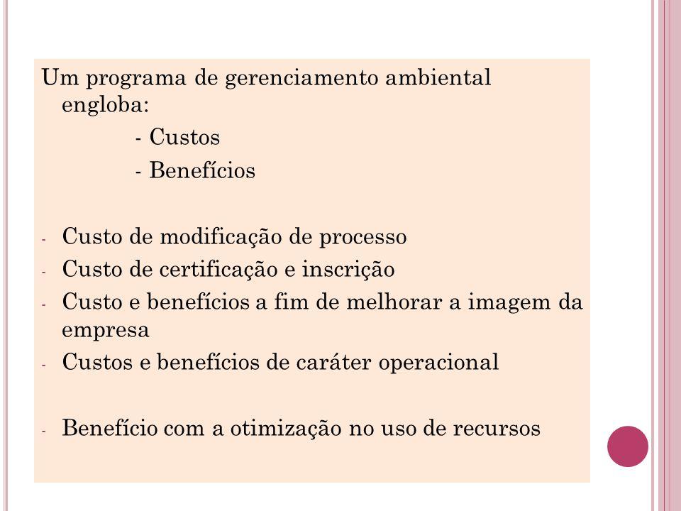 Um programa de gerenciamento ambiental engloba: - Custos - Benefícios - Custo de modificação de processo - Custo de certificação e inscrição - Custo e