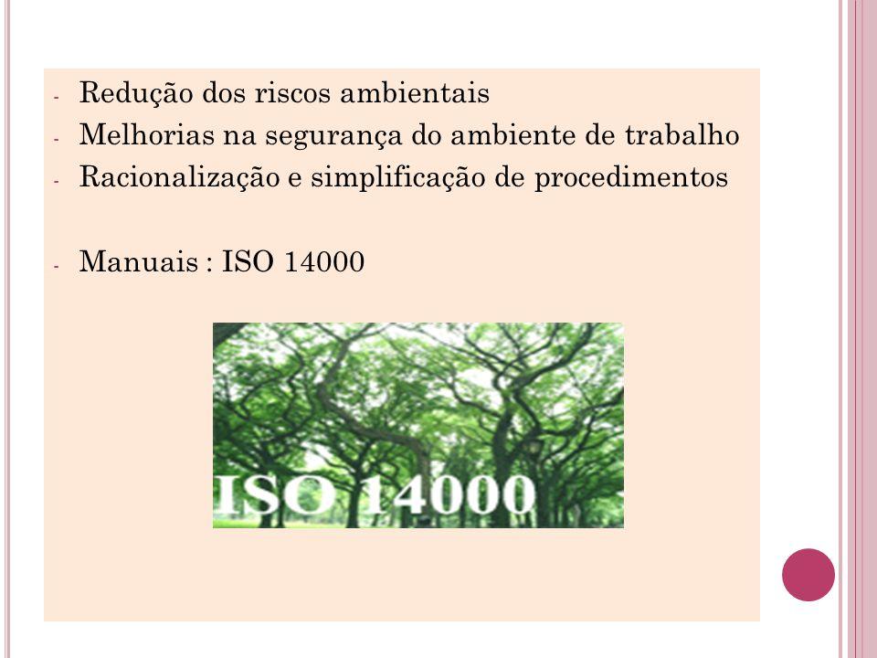 - Redução dos riscos ambientais - Melhorias na segurança do ambiente de trabalho - Racionalização e simplificação de procedimentos - Manuais : ISO 140