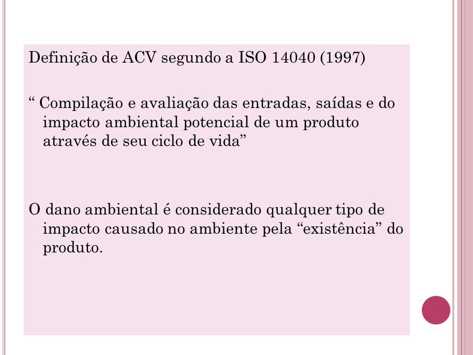 """Definição de ACV segundo a ISO 14040 (1997) """" Compilação e avaliação das entradas, saídas e do impacto ambiental potencial de um produto através de se"""