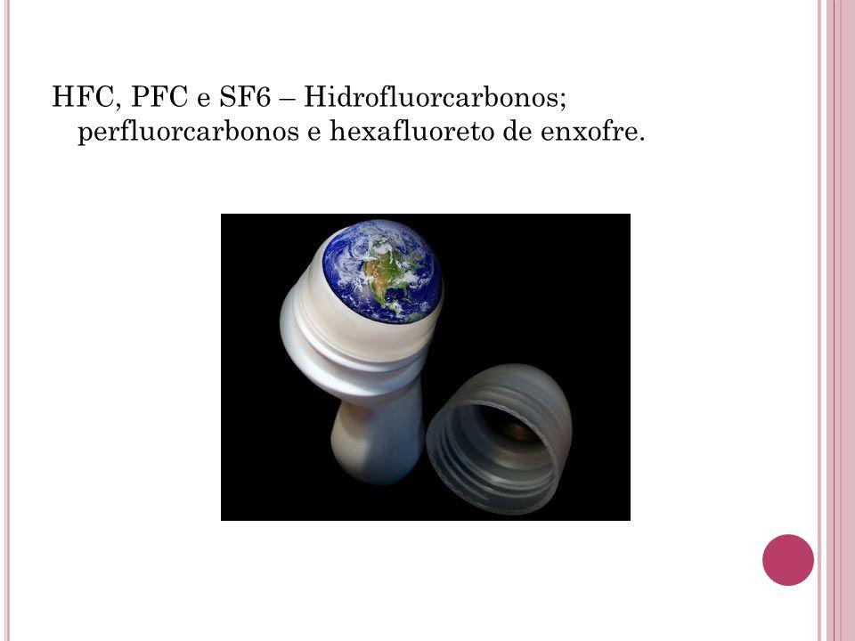 HFC, PFC e SF6 – Hidrofluorcarbonos; perfluorcarbonos e hexafluoreto de enxofre.